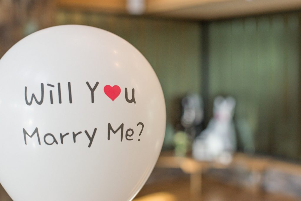 proposal balloon for wedding planning